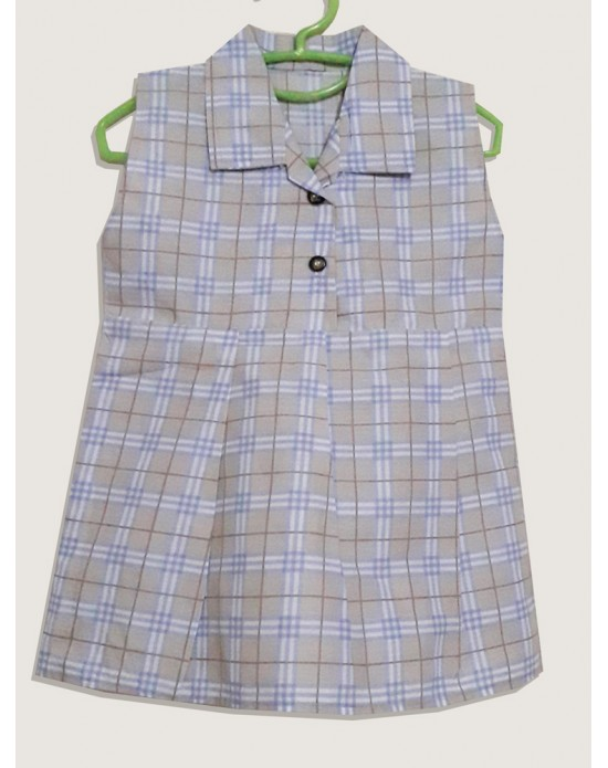 Cotton Light Cream and Blue Check Frock